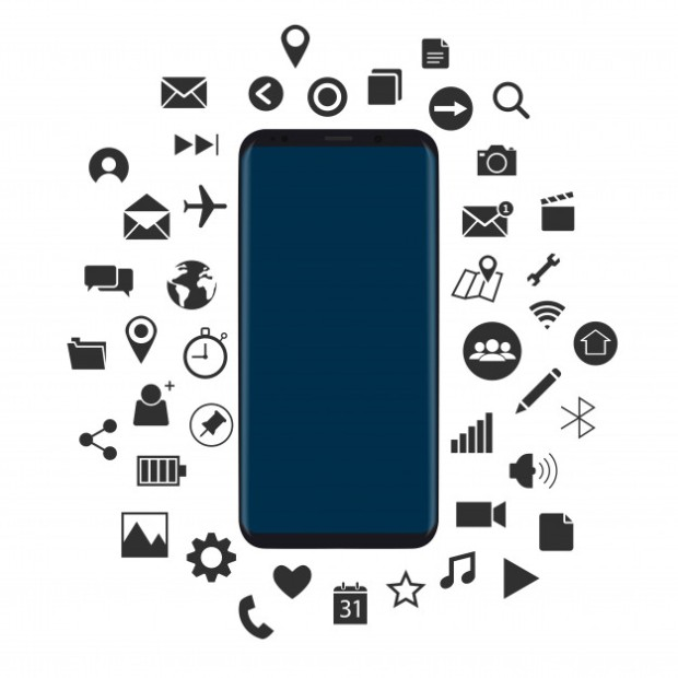 concept-of-new-smartphone-with-black-icons-vector_1379-908